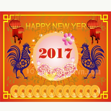 Happy new year 2017 creative greeting card design.