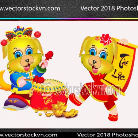 2018 Chinese New Year of the dog. Vector Photoshop