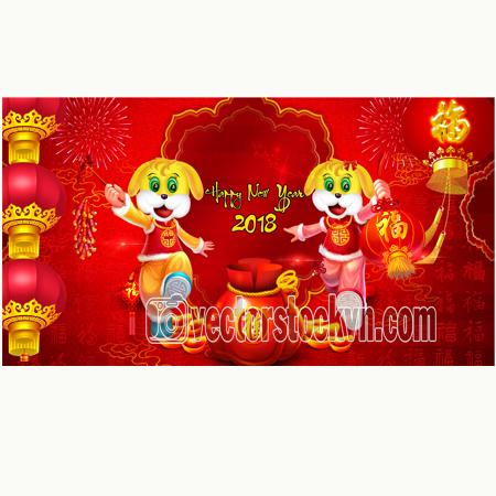 Download Happy Chinese new year - gold 2018 text and dog zodiac and flower frame vector designr.