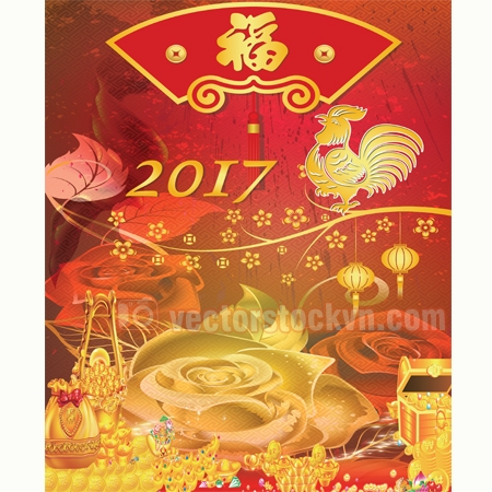 Vector in lịch tết 2017. file psd